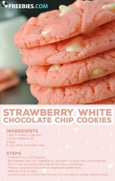 Strawberry Cookies are my favorite Strawberry Cake Mix Cookies! These White Chocolate Strawberry Cake Mix Cookies are so fun and delicious, and so super easy! Easy Cookie Recipes, Baking Recipes, Sweet Recipes, Snack Recipes, Easy Sugar Cookie Recipe, Snack Hacks, Lemon Sugar Cookies, Cookie Dough Recipes, Edible Cookie Dough