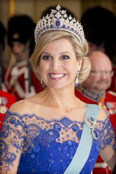 | H.M. Queen Máxima of The Netherlands wearing THE DUTCH SAPPHIRE TIARA |