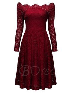 Burgundy Slash Neck Off-the-Shoulder Women's Lace Dress