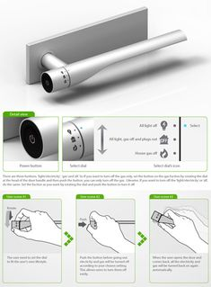 The door handle, created by designers Eun Ah Kim, Jinhyuk Rho, and Maria Rho, was a 2011 Red Dot Design award winner. The door handle is connected to the home's main power and gas supplies, allowing residents to turn both off and on easily.