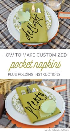 Learn how to use your Cricut Explore or other cutting machine to make these customized napkins! Tutorial includes folding instructions, too!