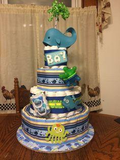 Love this whale-theme diaper cake! Whale Diaper Cake, Nautical Diaper Cakes, Diy Diaper Cake, Whale Cakes, Nappy Cakes, Nautical Baby, Baby Boy Birthday Themes, Boy Baby Shower Themes, Baby Boy Shower