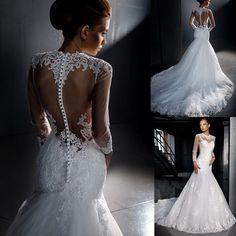 Elegant White Mermaid Wedding Gowns Lace Long Sleeves Backless Bridal Dresses Chapel Train Robe de Mariage W4134