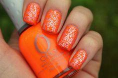 Orange stamping nail design :: one1lady.com :: #nail #nails #nailart #manicure