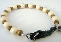 White and Khaki Dog Collar Buckle Collars by BeadieBabiez on Etsy
