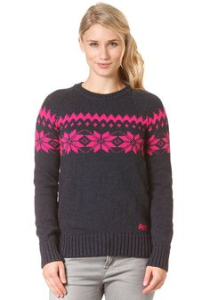 919bc158fced SUPERDRY - Womens Torsby Fairisle Boxy Crew Sweat french navy  planetsports   superdry  sweat