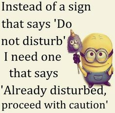 "Minion Quote | ""Instead of a sign that says 'Do not disturb', I need one that says 'Already disturbed, proceed with caution'"""