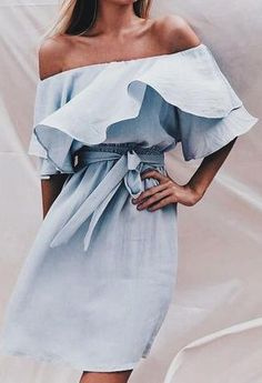 blue off shoulders dress. #summer style