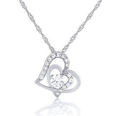 Double Open Heart Necklace - Two Silver Plated Hearts with Crystal Elements by SmitCo LLC