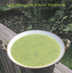 Asparagus Soup with Spinach | ©Life Through the Kitchen Window.com Asparagus Dishes, Asparagus Recipe, Simple Pleasures, Soups And Stews, Spinach, Window, Ethnic Recipes, Kitchen, Life