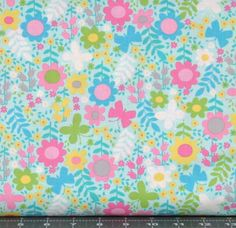 Teal, Pink, Yellow, and Lime Green Floral on Light Teal Cotton Quilt Fabric for Sale, Timeless Treasures' Tribeca Gabrielle Collection C4516 by fabric406 on Etsy