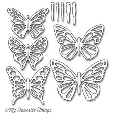 My Favorite Things - Die-namics - Flutter of Butterflies Lace-Butterflies are such a classic and universal design element. Flutter of Butterflies includes five sets of butterfly wings and five coordinating bodies to layer on top. Butterfly Wall Art, Butterfly Crafts, Butterfly Template, Flower Template, Paper Quilling Flowers, Parchment Craft, How To Make Paper, Creative Crafts, Paper Cutting
