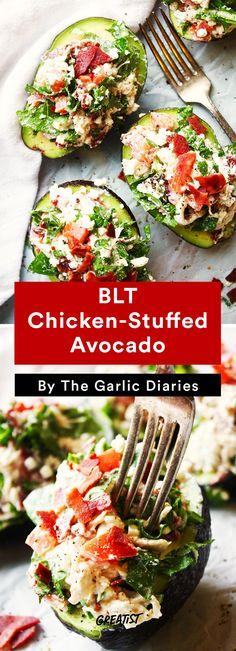 3. BLT Chicken-Stuffed Avocado #healthy #recipe #stuffedavocado #avocado http://greatist.com/eat/stuffed-avocado-recipes