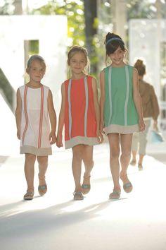Fendi, sharp little girls dresses with a slightly darker orange shade for summer 2012