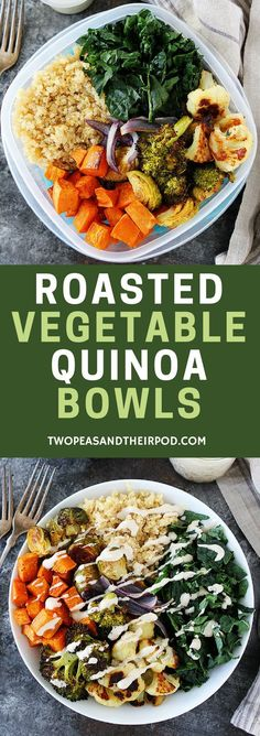 Roasted Vegetable Quinoa Bowls make a great healthy lunch or dinner. You can meal prep and eat all week! #mealprep #vegan #glutenfree #vegetarian #quinoa #easyrecipes