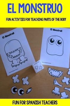 This set includes two fun activities for teaching parts of the body in Spanish. You will find: 1. Completa el monstruo: This game can be played in groups or individually. 2. Qu susto! El monstruo no tiene...: This is a fun activity that will help everyo