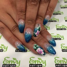 Butterfly Nail Designs, Nail Art Designs, Fading Nails, Pipe, Nail Envy, Nail Spa, Blue Glitter, Tropical Flowers, Pedicure