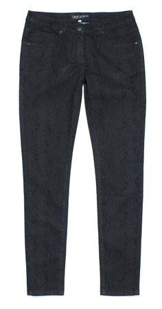 ts-c6, grafitowe spodnie we wzór imitujący skórę węża
