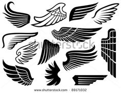 Illustration about Wings collection, set of wings. Illustration of angel, ornament, freedom - 27420932 Asa Logo, Hd Tattoos, Bird Stencil, Army Wallpaper, Eagle Wings, Wings Logo, Free Stencils, Vintage Birds, Easy Drawings