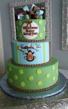 monkey baby shower cake www.wbcustomcakes.com