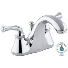 KOHLER, Forte 4 in. Centerset 2-Handle Low-Arc Bathroom Faucet in Polished Chrome with Traditional Lever Handles, K-10270-4A-CP at The Home Depot - Mobile