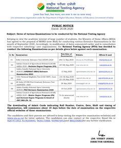 NTA ने परीक्षा कैलेंडर जारी किया-DUET, UGC NET, ICAR, IGNOU, AIAPGET, AIEEA Ministry Of Education, Higher Education, Exam Schedule, Entrance Exam, Public, Organization, News, Getting Organized, Organisation