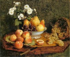 FRENCH PAINTERS: Henri FANTIN-LATOUR Flowers and Fruits on a Table