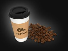 paper coffee cup with coffee beans on black background 3d