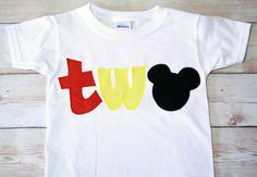 "Classic Mickey Mouse Inspired ""TWO"" Shirt for 2nd Birthdays - Boy Birthday Outfit on Etsy, $24.99"