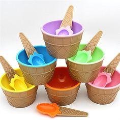 Симпатичный мороженого чаша мороженого ребенка пластиковый шар чаша мороженого детей