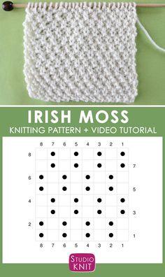Most up-to-date Totally Free knitting stitches moss Ideas Irish Moss Knit Stitch Pattern Chart with Video Tutorial by Studio Knit Knitting Stiches, Knitting Blogs, Knitting Charts, Knitting For Beginners, Lace Knitting, Knitting Patterns Free, Crochet Stitches, Stitch Patterns, Knitting Tutorials