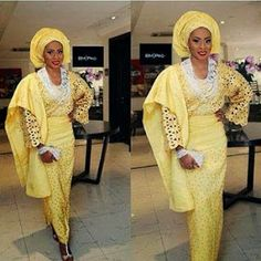 Pretty Mayokun looking lovely in butterscotch aso oke paired with white beads💋 Makeup by African Dresses For Women, African Wear, African Women, African Outfits, African Style, African Beauty, Wedding Gowns With Sleeves, Wedding Dress Styles, Wedding Wear