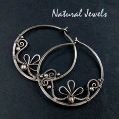 Earrings | NaturalJewels Designs. Fine and sterling silver, oxidized.