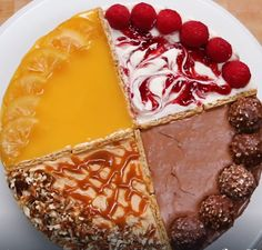 4 Flavor Cheesecake Recipe by Tasty Just Desserts, Delicious Desserts, Yummy Food, Cheesecake Recipes, Dessert Recipes, Lemon Curd Cheesecake, Cheesecake Pudding, Cheesecake Cupcakes, Baking Recipes