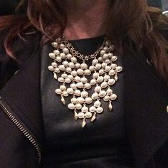 Dalliah bib teamed with black leather - perfect style combination.