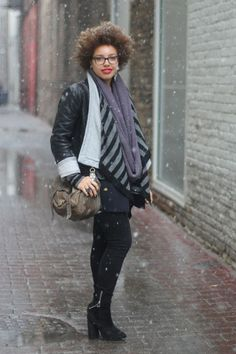 Chicago's Best Winter Street Style In 25 Chic Snaps! #refinery29  http://www.refinery29.com/26456#slide6  Rhianna is a Chicago native visiting home from Tufts University. We're fully appreciating her bold lip on a dreary day, as well as her balanced outfit focusing the volume on top. That scarf by the way, was thrifted in Paris. Yeah.    Photographed by Amy Creyer