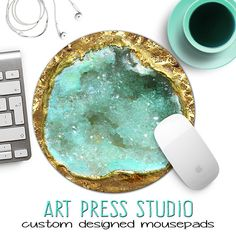 Gold and Mint Green Geode Mousepad