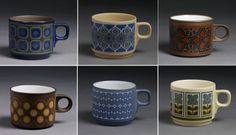 Assorted Hornsea Pottery mugs on display at the V&A Museum Hornsea Pottery, Pottery Mugs, Portmeirion Pottery, V & A Museum, The V&a, Kitchens, Plates, Display, Dishes