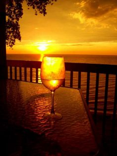 Glass of wine in sunset..
