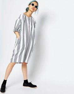 Image 1 of Monki Oversized Stripe Dress