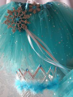 Frozen princess party Ideas. WinterGreen Sparkle Tutu - Snowflake Wand- Princess Tiara. Frozen Party Tutus at My Princess Party to Go. www.myprincesspar... #frozenpartyideas #princesspartyideas