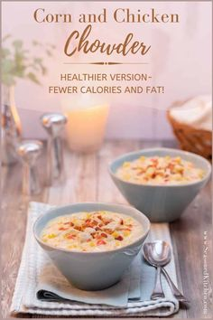 Warm, creamy, thick and chunky, Corn and Chicken Chowder is the ultimate comfort food. My healthier version of this classic dish is still full of flavor, but has less calories, fat - and Weight Watchers' points. Plus, it's super easy to prepare with pantry ingredients. #cornchowder #chickencornchowder #chowderrecipe #seasonedkitchen #healthychowderrecipe Chowder Recipes, Easy Soup Recipes, Turkey Recipes, Yummy Recipes, Yummy Food, Healthy Recipes, Chicken Corn Chowder, Soup And Salad, Pantry