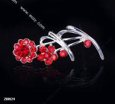 4.2x2mm Red Fashion Sunflower Crystal Breastpin Hair brooch Pin Rhinestone