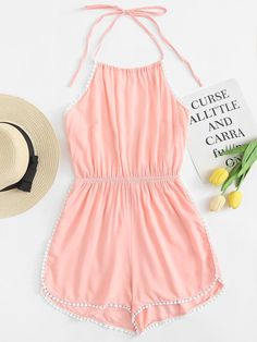 Shop Halter Neck Crochet Trim Romper at ROMWE, discover more fashion styles online. Teenage Outfits, Cute Girl Outfits, Cute Casual Outfits, Girly Outfits, Cute Summer Outfits, Outfits For Teens, Pretty Outfits, Stylish Outfits, Girls Fashion Clothes