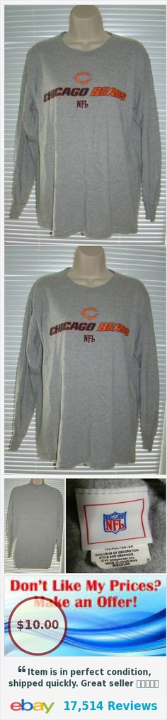 57cb523b671 ... Chicago Bears Gray Long Sleeve Crew Neck Shirt NFL Mens Sz Medium - TC  eBay Womens Majestic Navy Chicago Bears Pregame Style Racerback Tank Top ...