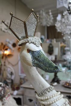 Assembled Swan with Votive Candle Crown- Beautiful when lit- White Horse Relics
