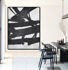 Extra Large Acrylic Painting On Canvas, Minimalist Painting Canvas Art, Black And White Geometrical Painting - Celine Ziang Art by CelineZiangArt on Etsy https://www.etsy.com/listing/234300083/extra-large-acrylic-painting-on-canvas