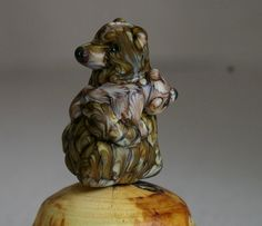 Reserved for Metalgirl - Mama Grizzly Bear lampwork glass wearable at bead by Cleo Dunsmore Grama Tortoise
