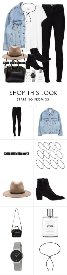 """""""Outfit for a day out with a denim jacket and jeans"""" by ferned ❤ liked on Polyvore featuring Frame, ASOS, rag & bone, Stuart Weitzman, Givenchy, philosophy, Skagen and Lanvin"""