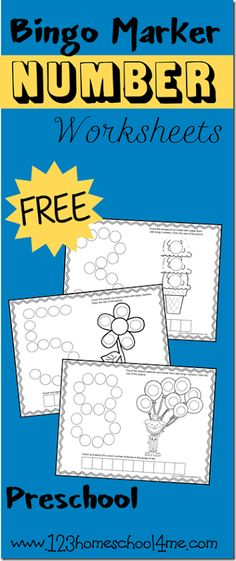Teach your preschooler the number 1-12 with these FREE Bingo number Marker Worksheets.Each of the 12 black and white worksheets includes a make